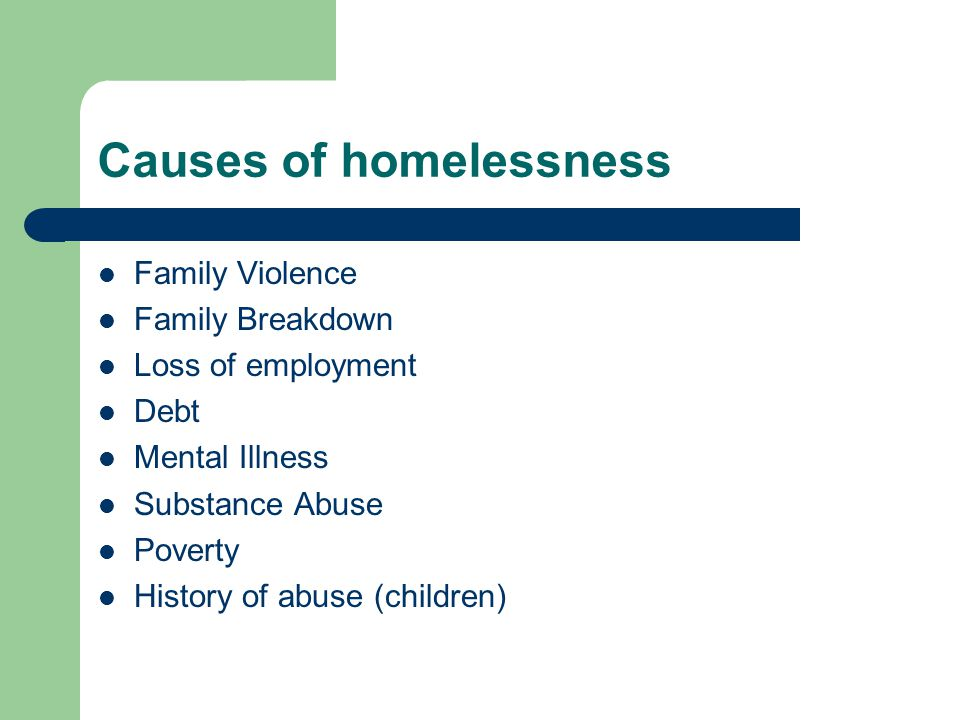 Causes of homelessness Family Violence Family Breakdown Loss of employment Debt Mental Illness Substance Abuse Poverty History of abuse (children)