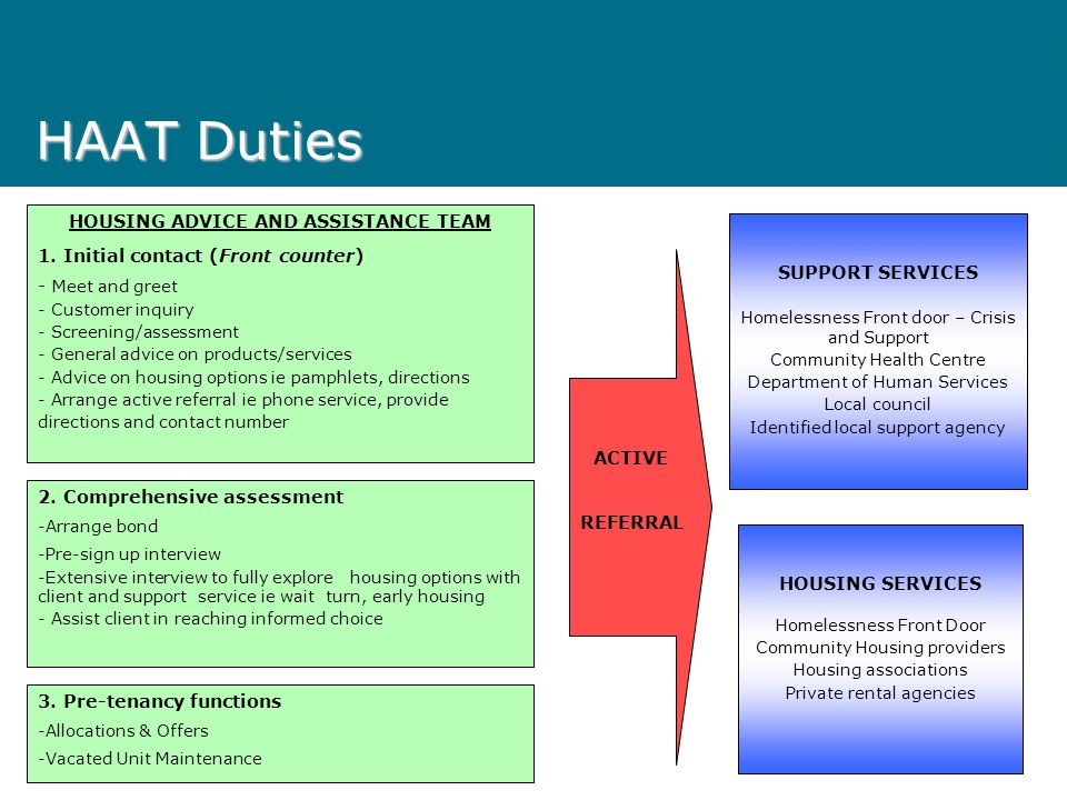 HAAT Duties HOUSING ADVICE AND ASSISTANCE TEAM 1.