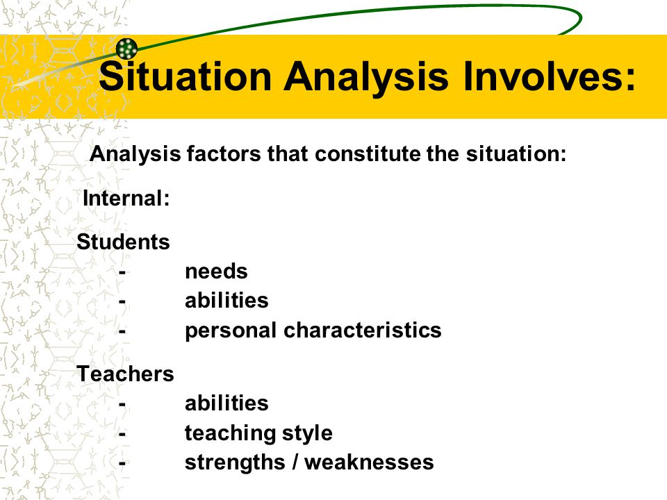 Situation Analysis Involves: Analysis factors that constitute the situation: External: –cultural and social change –educational system requirements –the changing nature of subject matter –resources
