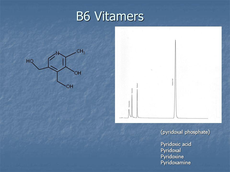 B6 Vitamers (pyridoxal phosphate) Pyridoxic acid PyridoxalPyridoxinePyridoxamine