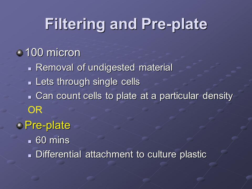 Filtering and Pre-plate 100 micron Removal of undigested material Removal of undigested material Lets through single cells Lets through single cells Can count cells to plate at a particular density Can count cells to plate at a particular density ORPre-plate 60 mins 60 mins Differential attachment to culture plastic Differential attachment to culture plastic