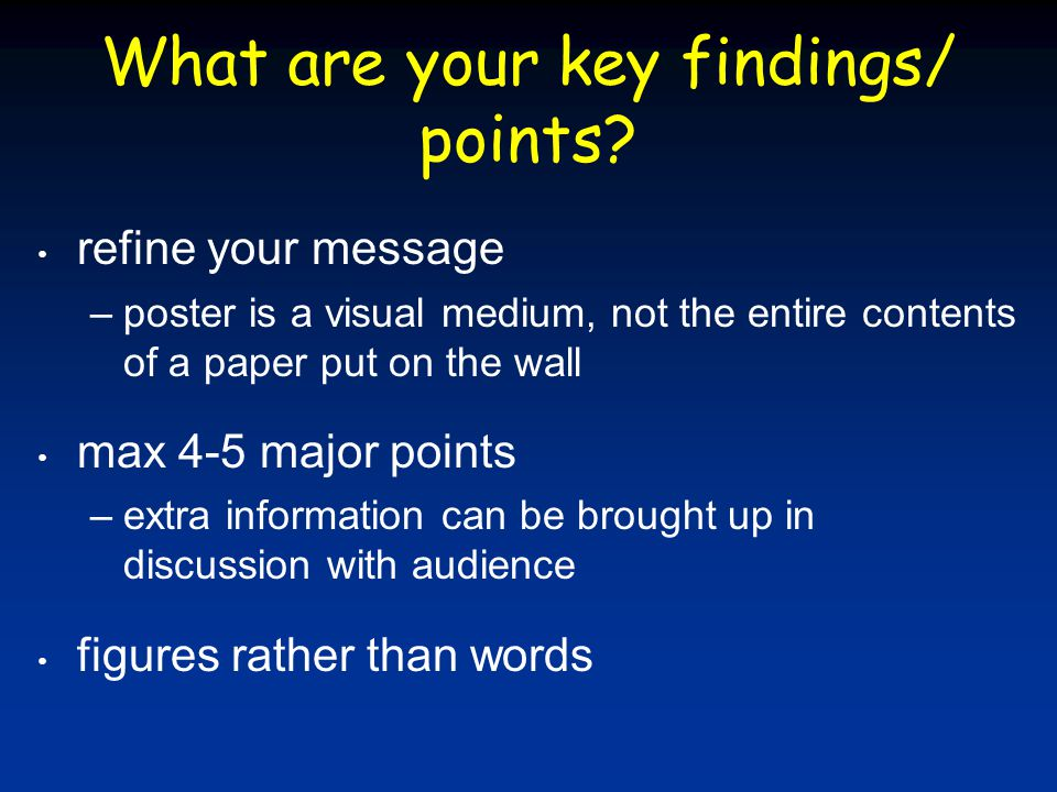 What are your key findings/ points.
