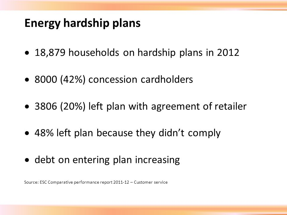 Energy hardship plans  18,879 households on hardship plans in 2012  8000 (42%) concession cardholders  3806 (20%) left plan with agreement of retailer  48% left plan because they didn't comply  debt on entering plan increasing Source: ESC Comparative performance report 2011-12 – Customer service