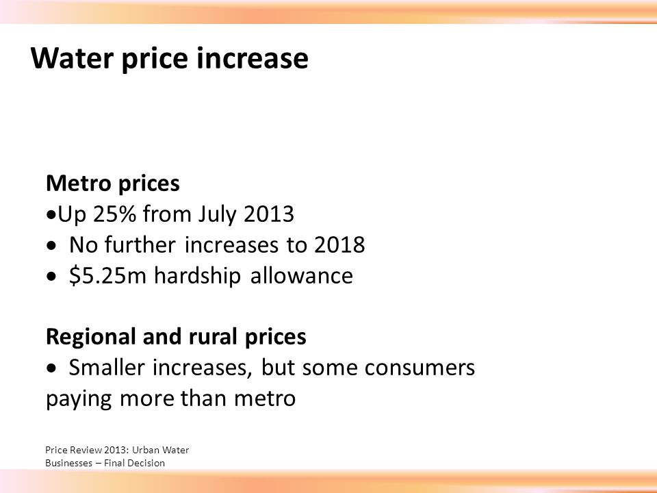Water price increase Metro prices  Up 25% from July 2013  No further increases to 2018  $5.25m hardship allowance Regional and rural prices  Smaller increases, but some consumers paying more than metro Price Review 2013: Urban Water Businesses – Final Decision