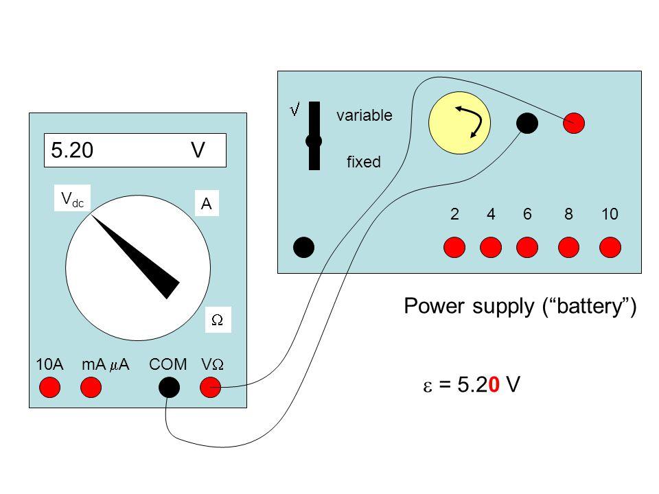 "Power supply (""battery"") variable fixed 241068  5.20 V COM VV 10A mA  A  A V dc  = 5.20 V"