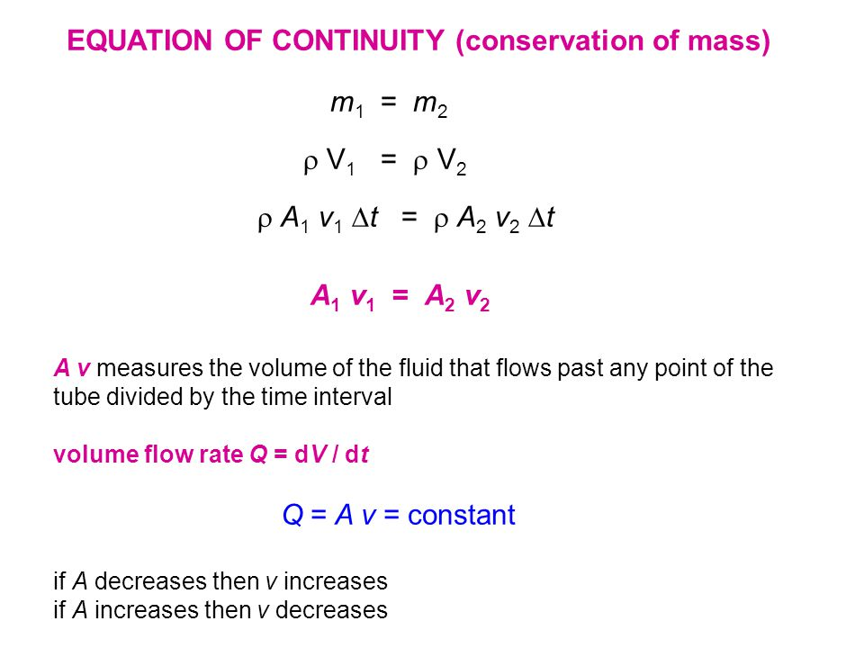 m 1 = m 2  V 1 =  V 2  A 1 v 1  t =  A 2 v 2  t A 1 v 1 = A 2 v 2 EQUATION OF CONTINUITY (conservation of mass) A v measures the volume of the fluid that flows past any point of the tube divided by the time interval volume flow rate Q = dV / dt Q = A v = constant if A decreases then v increases if A increases then v decreases
