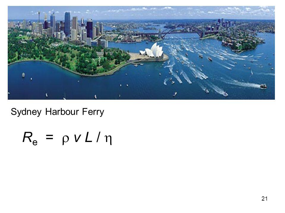 21 R e =  v L /  Sydney Harbour Ferry