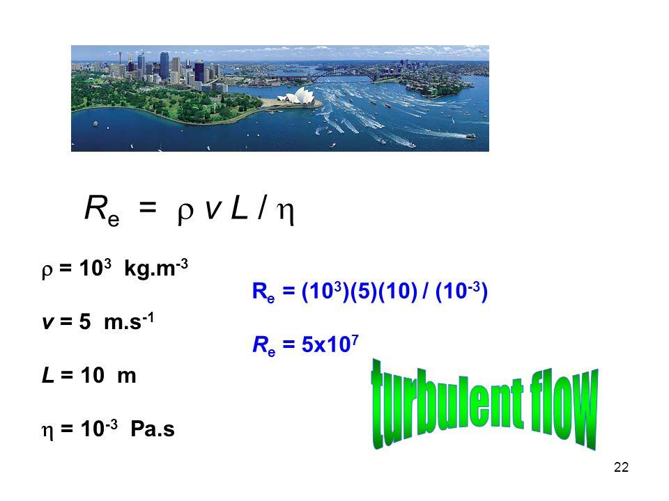 22 R e =  v L /   = 10 3 kg.m -3 v = 5 m.s -1 L = 10 m  = 10 -3 Pa.s R e = (10 3 )(5)(10) / (10 -3 ) R e = 5x10 7