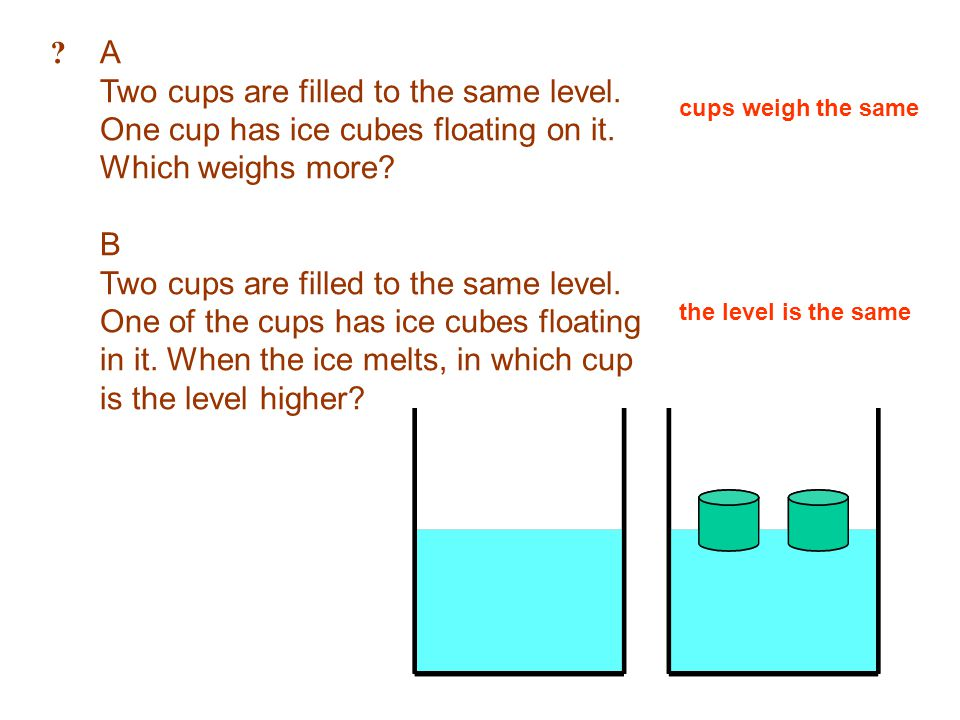 ? A Two cups are filled to the same level. One cup has ice cubes floating on it. Which weighs more? B Two cups are filled to the same level. One of th