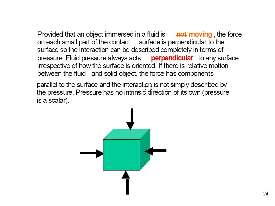 24 parallel to the surface and the interaction is not simply described by the pressure.