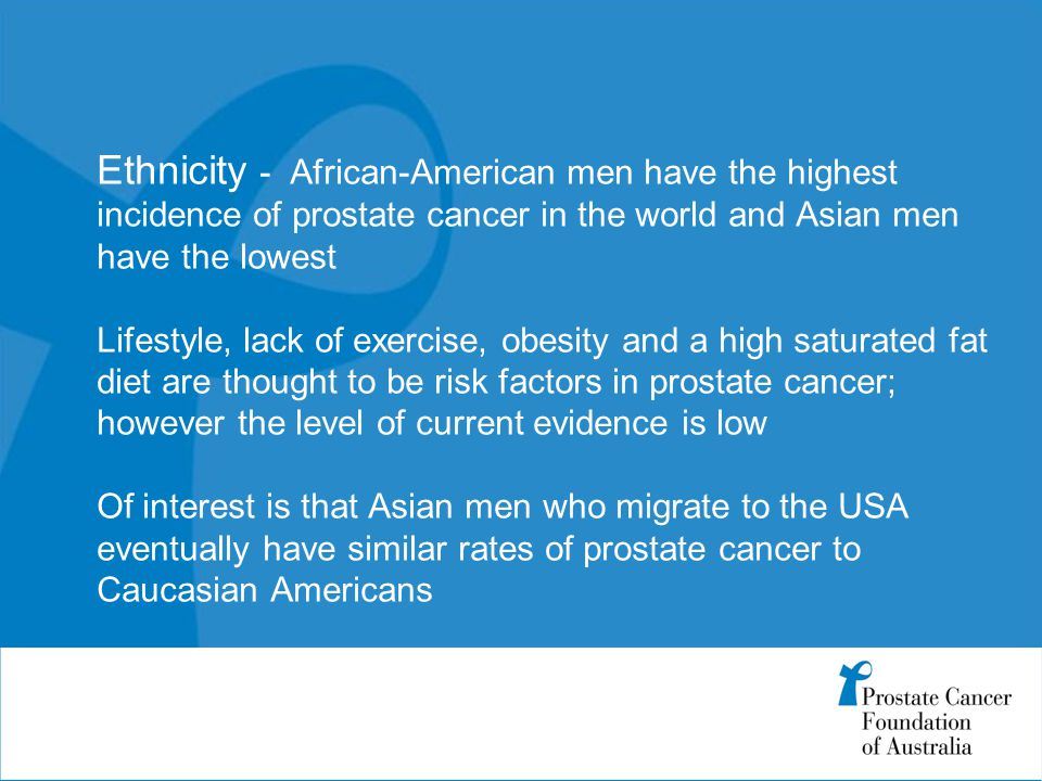 Ethnicity - African-American men have the highest incidence of prostate cancer in the world and Asian men have the lowest Lifestyle, lack of exercise, obesity and a high saturated fat diet are thought to be risk factors in prostate cancer; however the level of current evidence is low Of interest is that Asian men who migrate to the USA eventually have similar rates of prostate cancer to Caucasian Americans