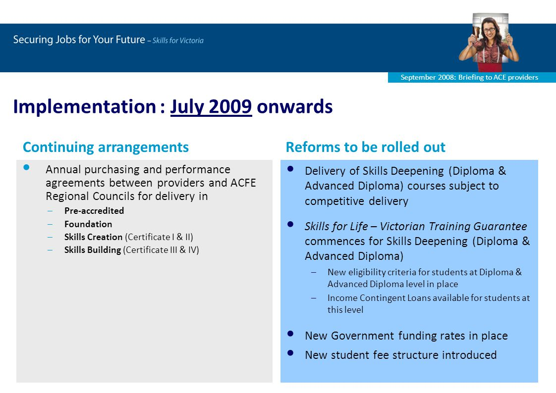 September 2008: Briefing to ACE providers Implementation : July 2009 onwards Annual purchasing and performance agreements between providers and ACFE Regional Councils for delivery in –Pre-accredited –Foundation –Skills Creation (Certificate I & II) –Skills Building (Certificate III & IV) Delivery of Skills Deepening (Diploma & Advanced Diploma) courses subject to competitive delivery Skills for Life – Victorian Training Guarantee commences for Skills Deepening (Diploma & Advanced Diploma) –New eligibility criteria for students at Diploma & Advanced Diploma level in place –Income Contingent Loans available for students at this level New Government funding rates in place New student fee structure introduced Continuing arrangementsReforms to be rolled out