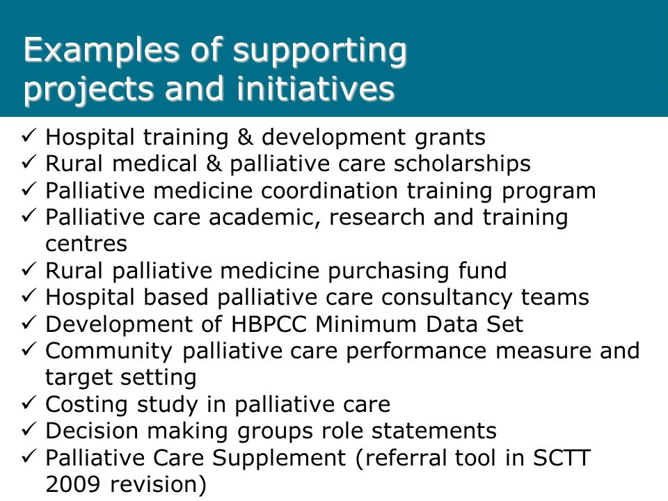 Examples of supporting projects and initiatives Hospital training & development grants Rural medical & palliative care scholarships Palliative medicine coordination training program Palliative care academic, research and training centres Rural palliative medicine purchasing fund Hospital based palliative care consultancy teams Development of HBPCC Minimum Data Set Community palliative care performance measure and target setting Costing study in palliative care Decision making groups role statements Palliative Care Supplement (referral tool in SCTT 2009 revision)