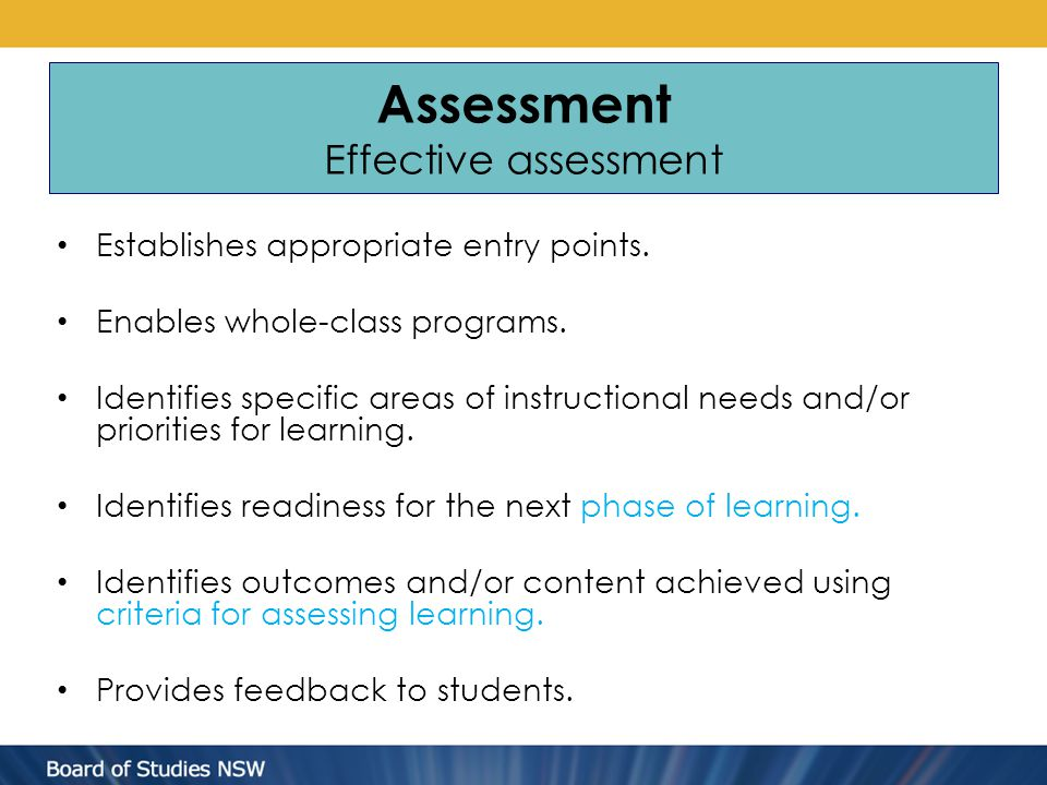 Assessment Effective assessment Establishes appropriate entry points. Enables whole-class programs. Identifies specific areas of instructional needs a
