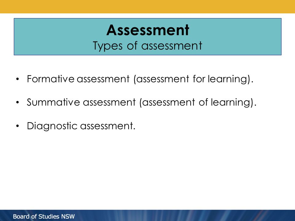 Assessment Types of assessment Formative assessment (assessment for learning).