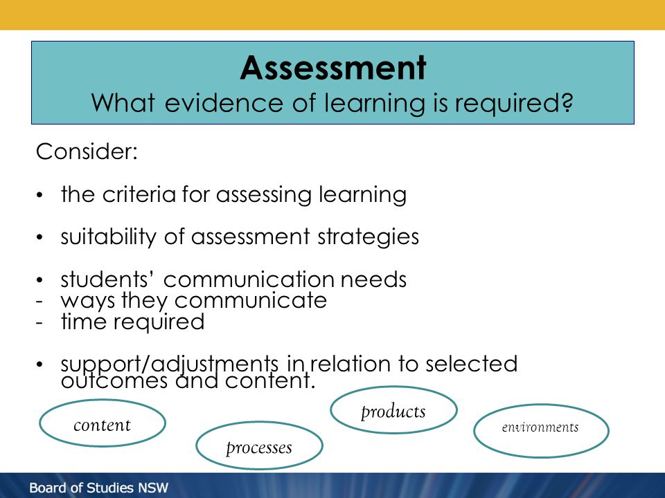 Assessment What evidence of learning is required? Consider: the criteria for assessing learning suitability of assessment strategies students' communi
