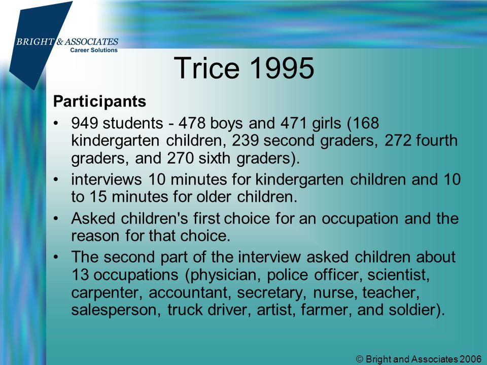 © Bright and Associates 2006 Trice 1995 Participants 949 students - 478 boys and 471 girls (168 kindergarten children, 239 second graders, 272 fourth graders, and 270 sixth graders).