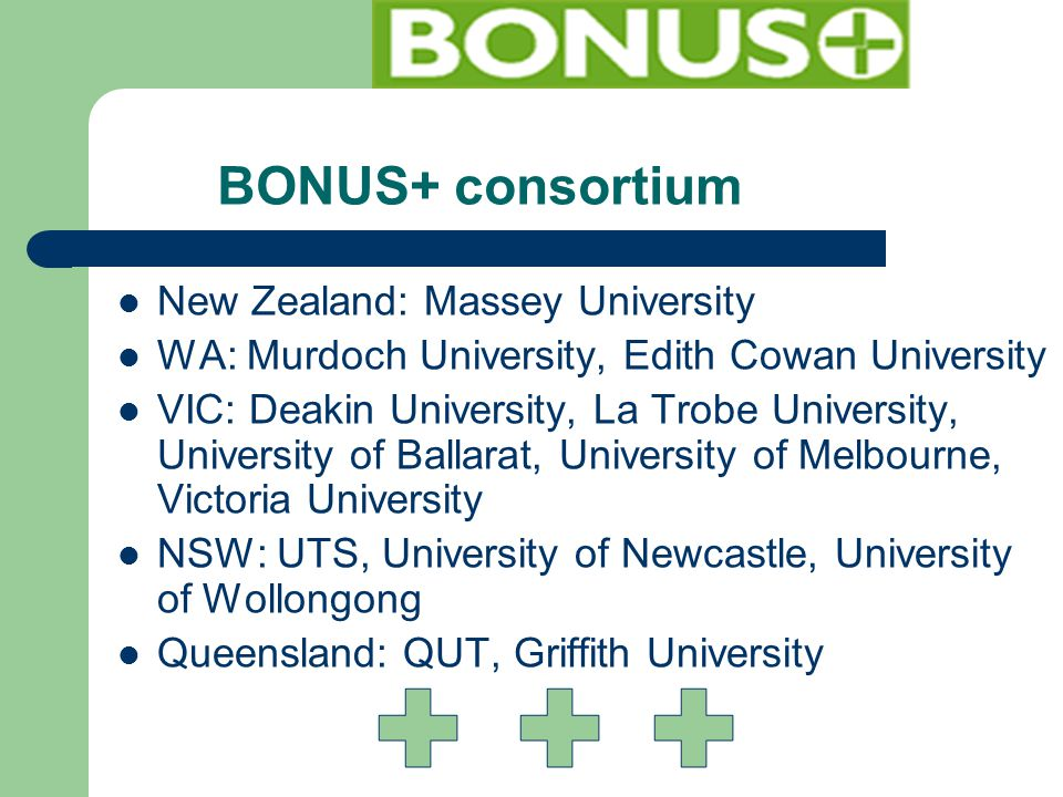 BONUS+ consortium New Zealand: Massey University WA: Murdoch University, Edith Cowan University VIC: Deakin University, La Trobe University, University of Ballarat, University of Melbourne, Victoria University NSW: UTS, University of Newcastle, University of Wollongong Queensland: QUT, Griffith University