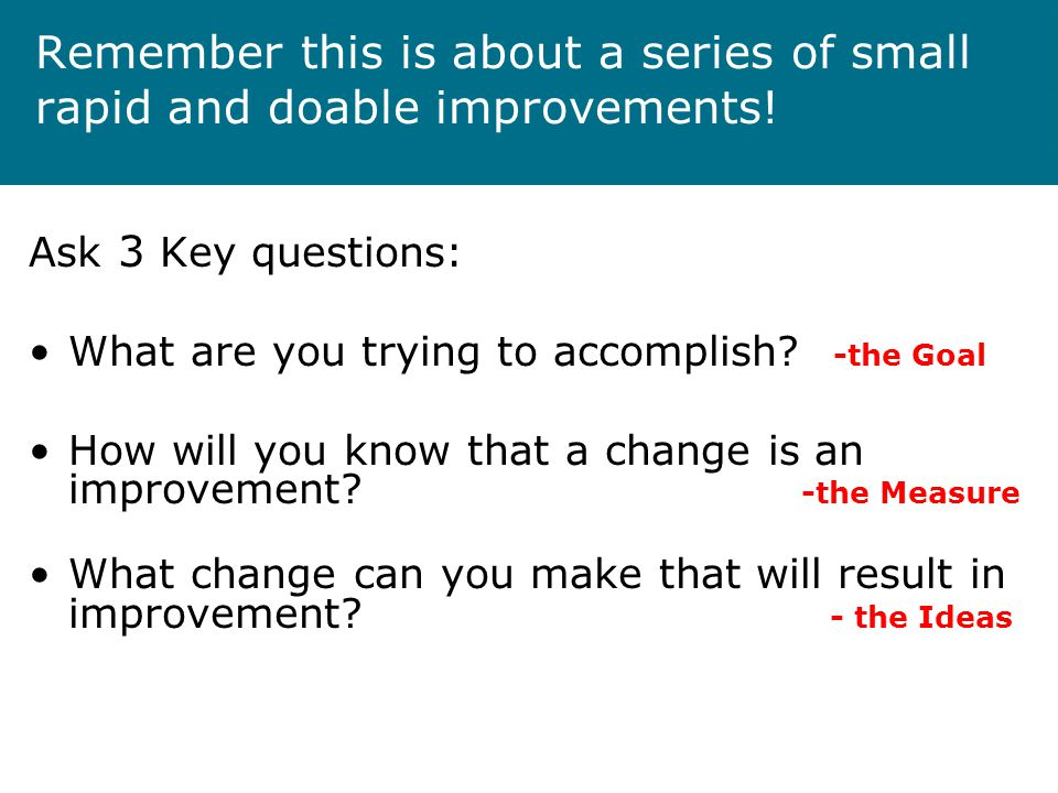 Remember this is about a series of small rapid and doable improvements.