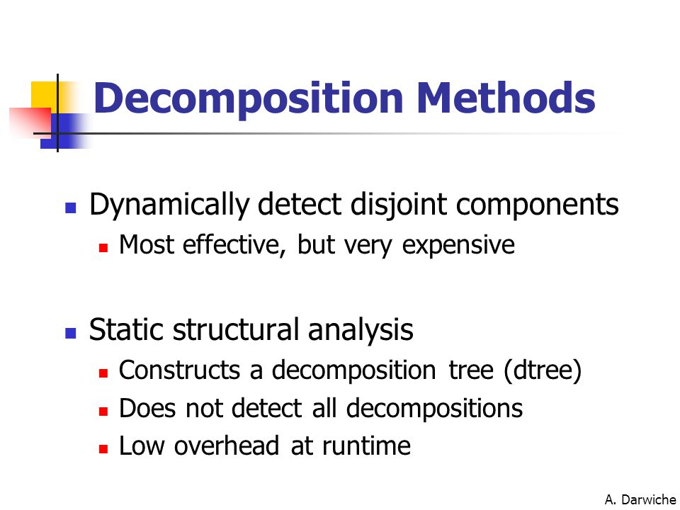 A. Darwiche Dynamically detect disjoint components Most effective, but very expensive Static structural analysis Constructs a decomposition tree (dtre