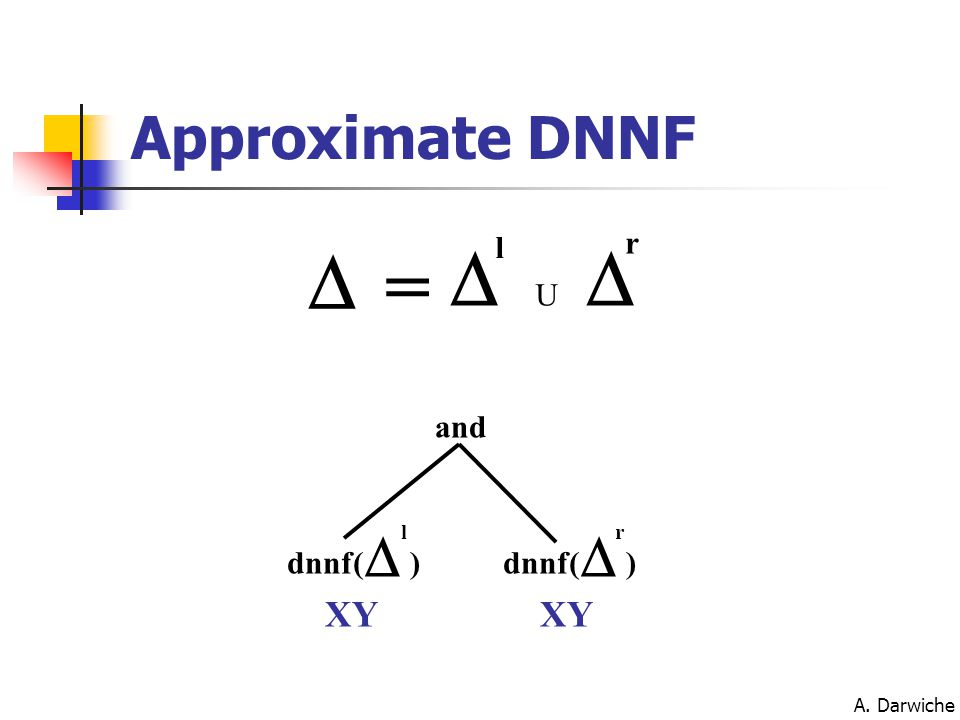 A. Darwiche Approximate DNNF  dnnf(  l )  r ) and  l  r U = XY