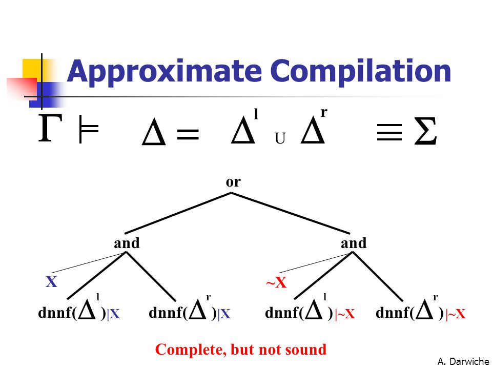 A. Darwiche Approximate Compilation dnnf(  l )  r ) and ~X dnnf(  l )  r ) and or X |X |~X   l  r U   Complete, but not sound