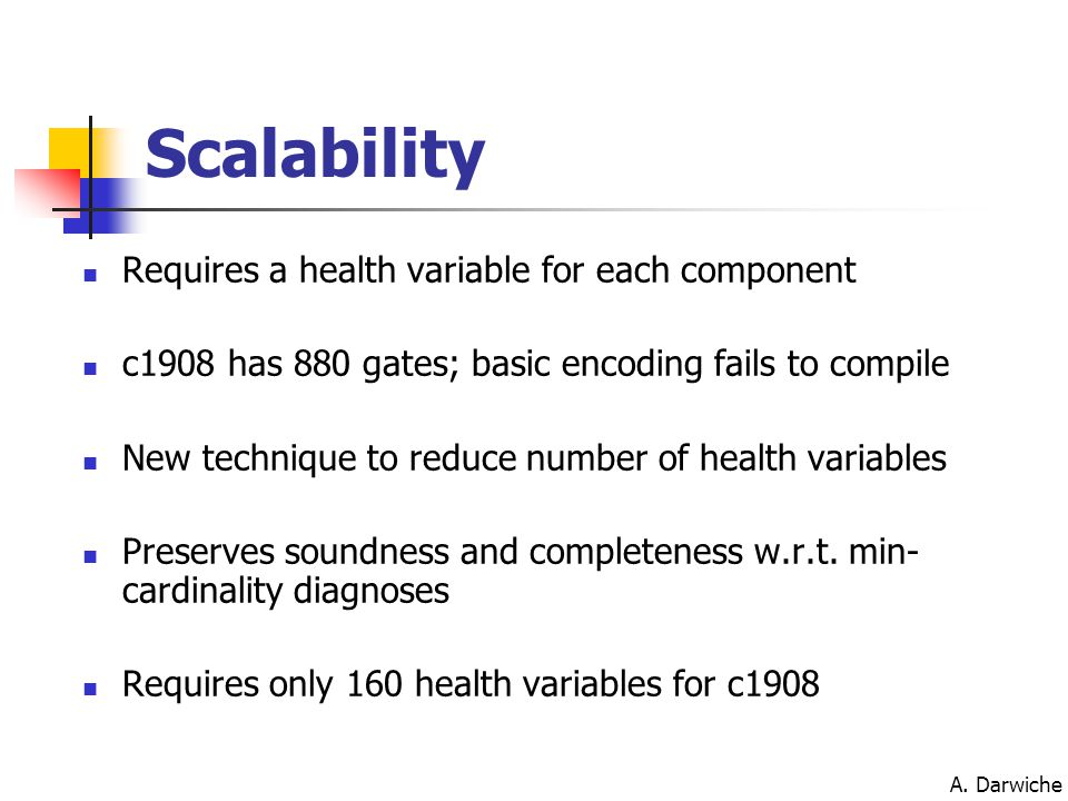A. Darwiche Scalability Requires a health variable for each component c1908 has 880 gates; basic encoding fails to compile New technique to reduce num
