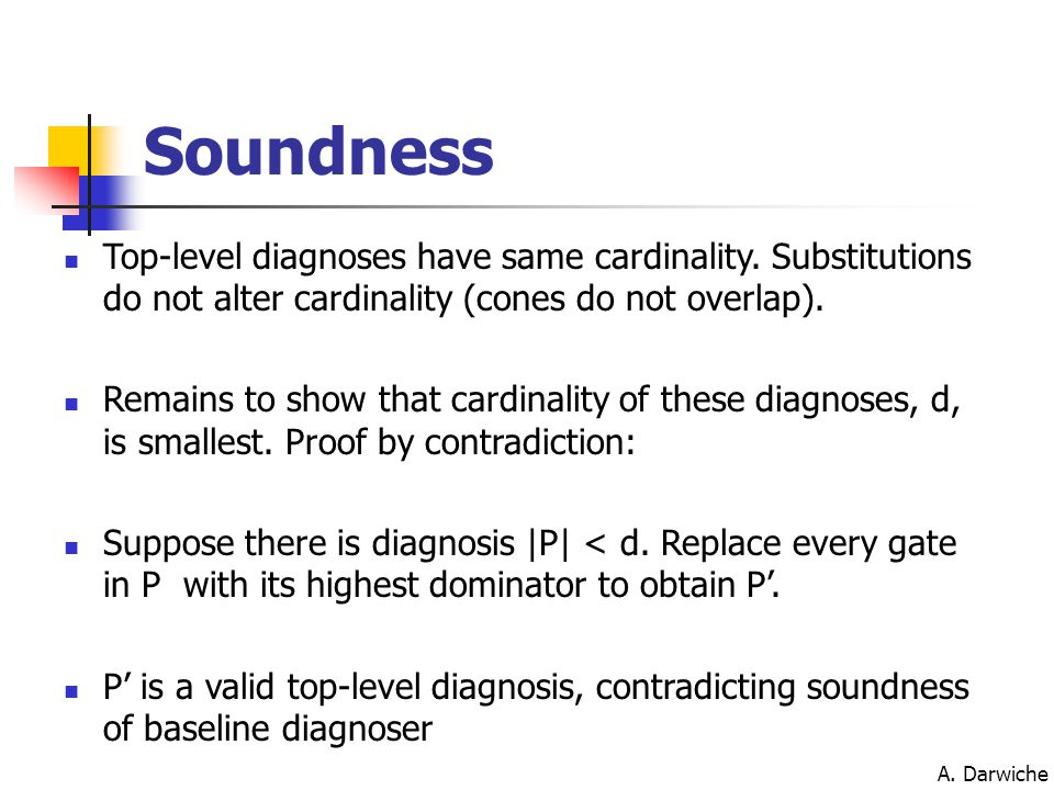 A. Darwiche Soundness Top-level diagnoses have same cardinality. Substitutions do not alter cardinality (cones do not overlap). Remains to show that c