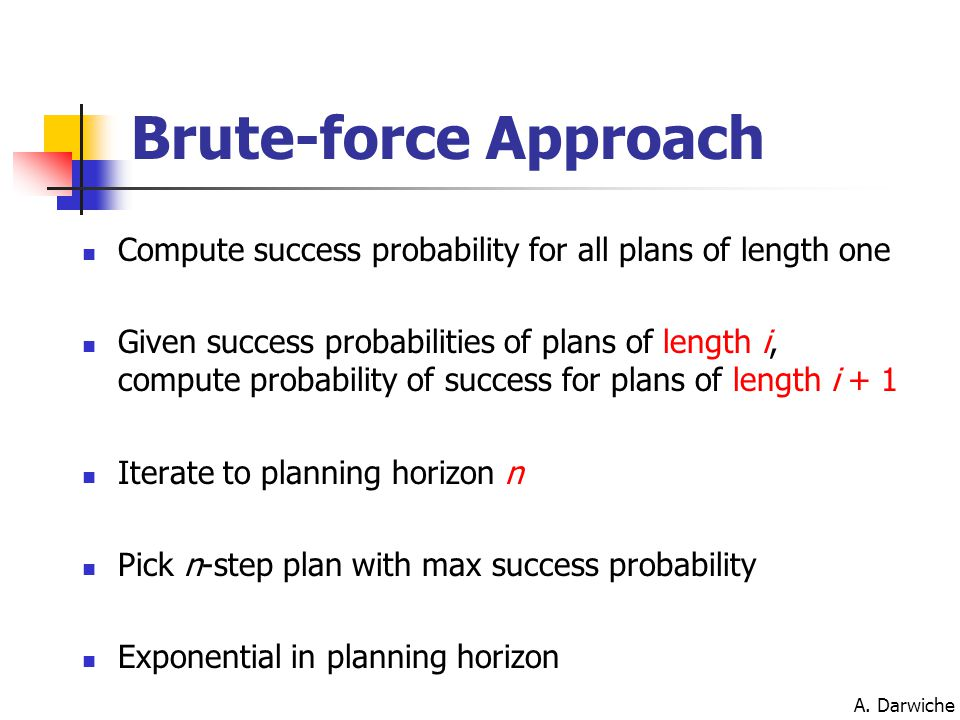 A. Darwiche Brute-force Approach Compute success probability for all plans of length one Given success probabilities of plans of length i, compute pro