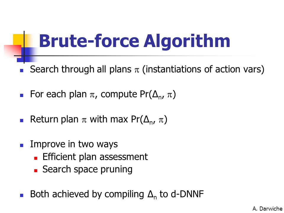 A. Darwiche Brute-force Algorithm Search through all plans  (instantiations of action vars) For each plan , compute Pr(Δ n,  ) Return plan  with m