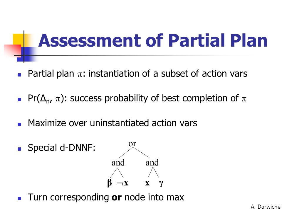 A. Darwiche Assessment of Partial Plan Partial plan  : instantiation of a subset of action vars Pr(Δ n,  ): success probability of best completion o