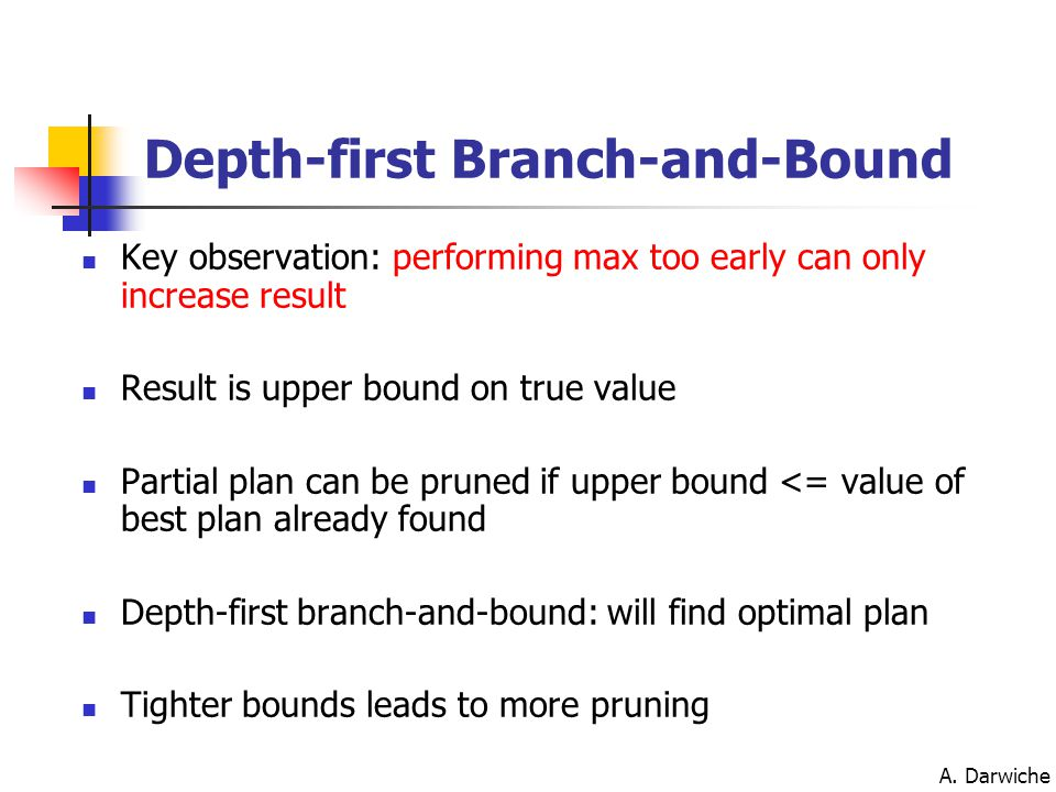 A. Darwiche Depth-first Branch-and-Bound Key observation: performing max too early can only increase result Result is upper bound on true value Partia