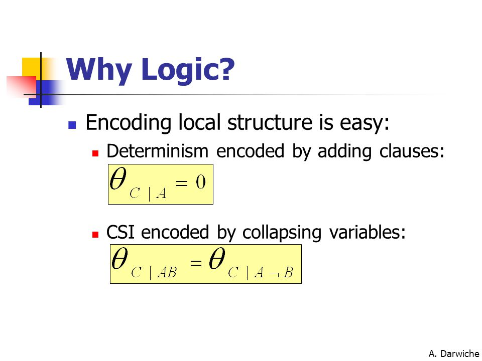 A. Darwiche Why Logic? Encoding local structure is easy: Determinism encoded by adding clauses: CSI encoded by collapsing variables: