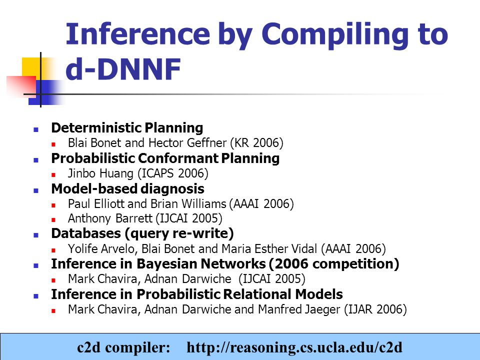 A. Darwiche Inference by Compiling to d-DNNF Deterministic Planning Blai Bonet and Hector Geffner (KR 2006) Probabilistic Conformant Planning Jinbo Hu