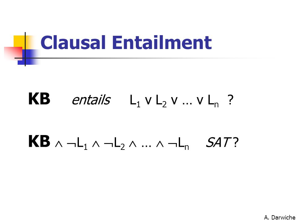 A. Darwiche KB entails L 1 v L 2 v … v L n ? KB   L 1   L 2  …   L n SAT ? Clausal Entailment