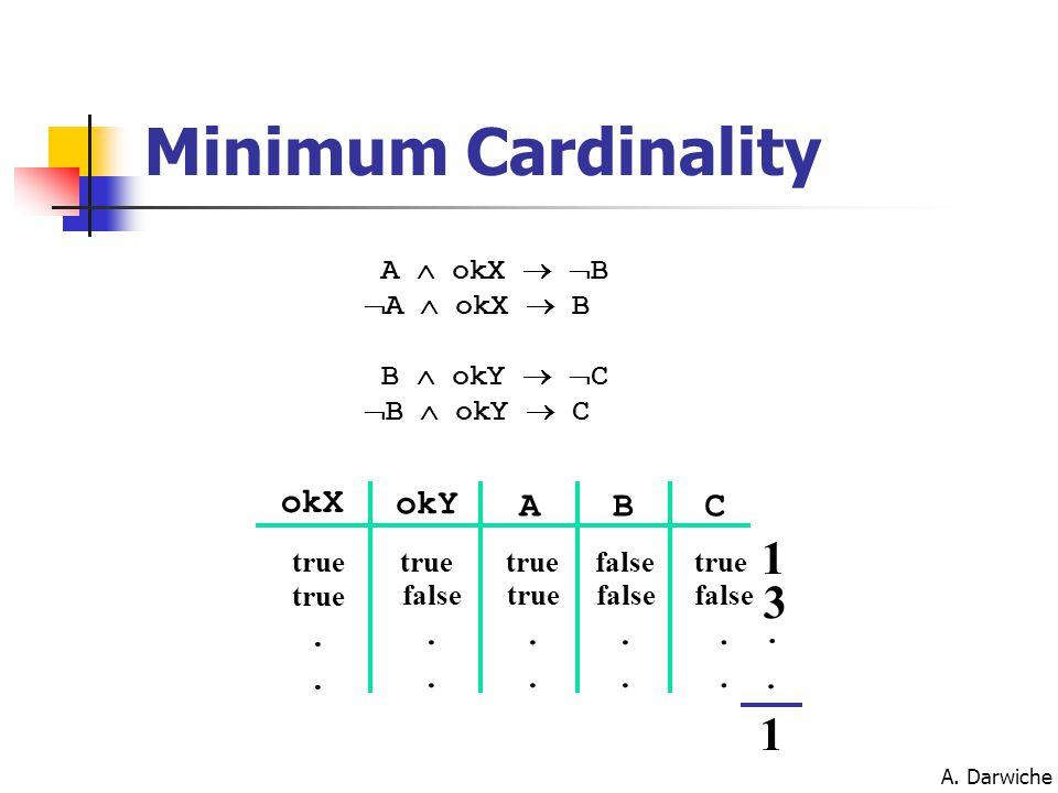 A. Darwiche Minimum Cardinality 1 3.. 1 okY ABC true false true.