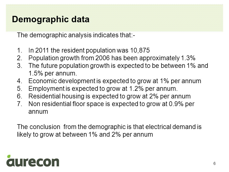 6 Demographic data The demographic analysis indicates that:- 1.In 2011 the resident population was 10,875 2.Population growth from 2006 has been appro