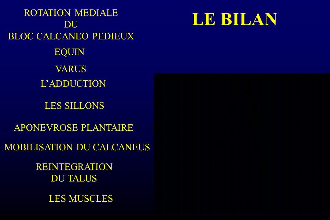 LE BILAN L'ADDUCTION VARUS REINTEGRATION DU TALUS ROTATION MEDIALE DU BLOC CALCANEO PEDIEUX EQUIN LES SILLONS LES MUSCLES APONEVROSE PLANTAIRE MOBILIS