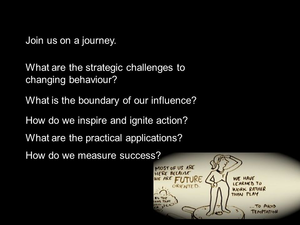 Join us on a journey. What are the strategic challenges to changing behaviour.