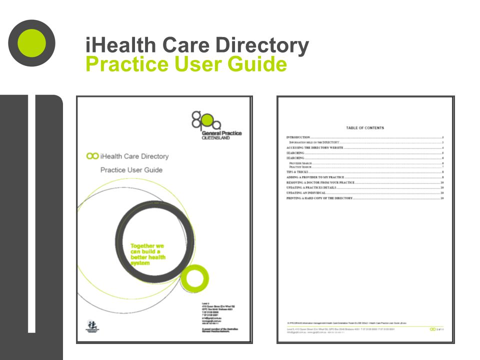 iHealth Care Directory Practice User Guide