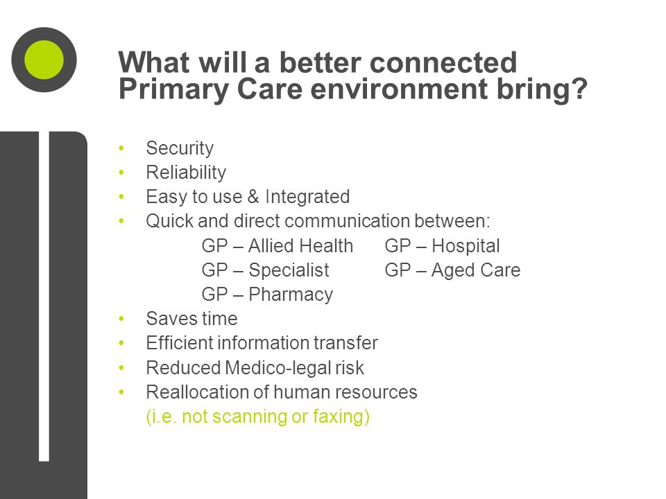 What will a better connected Primary Care environment bring? Security Reliability Easy to use & Integrated Quick and direct communication between: GP