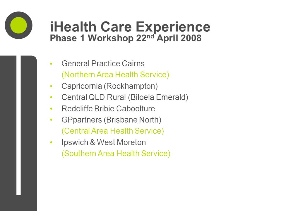iHealth Care Experience Phase 1 Workshop 22 nd April 2008 General Practice Cairns (Northern Area Health Service) Capricornia (Rockhampton) Central QLD
