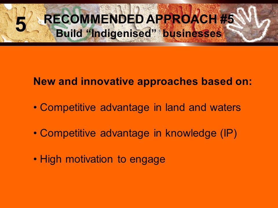 New and innovative approaches based on: Competitive advantage in land and waters Competitive advantage in knowledge (IP) High motivation to engage RECOMMENDED APPROACH #5 Build Indigenised businesses 5