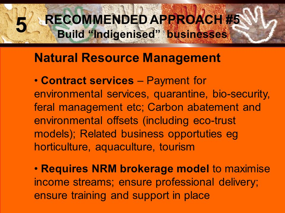Natural Resource Management Contract services – Payment for environmental services, quarantine, bio-security, feral management etc; Carbon abatement and environmental offsets (including eco-trust models); Related business opportuties eg horticulture, aquaculture, tourism Requires NRM brokerage model to maximise income streams; ensure professional delivery; ensure training and support in place RECOMMENDED APPROACH #5 Build Indigenised businesses 5
