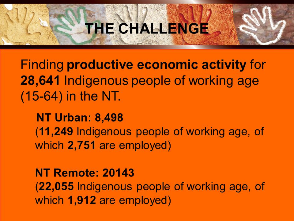 Finding productive economic activity for 28,641 Indigenous people of working age (15-64) in the NT.