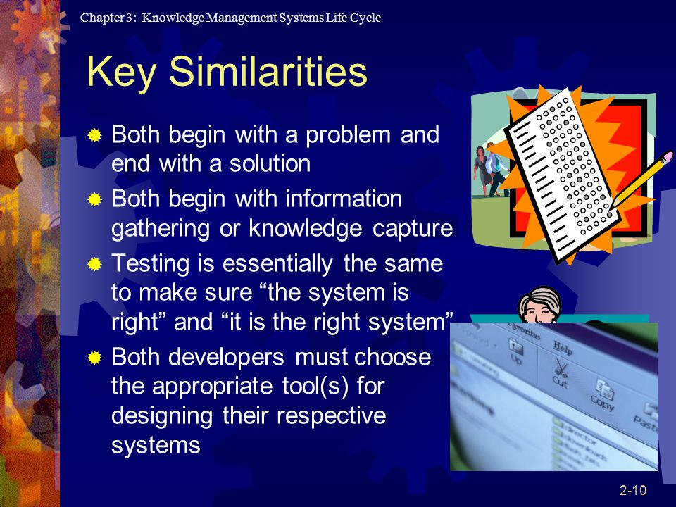 Chapter 3: Knowledge Management Systems Life Cycle 2-10 Key Similarities  Both begin with a problem and end with a solution  Both begin with informa