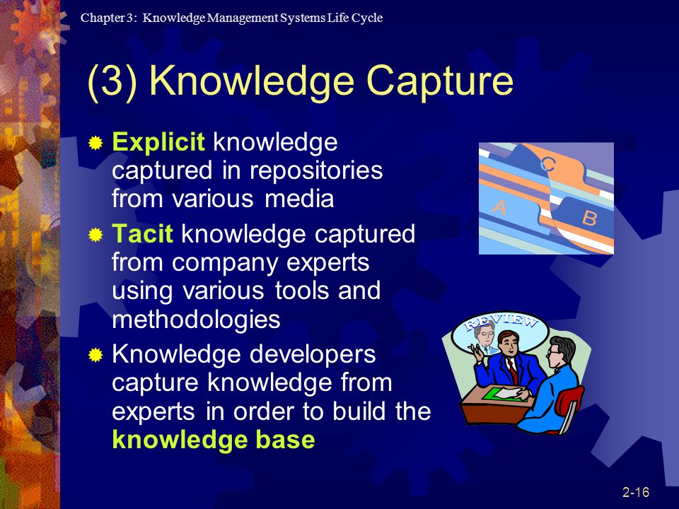Chapter 3: Knowledge Management Systems Life Cycle 2-16 (3) Knowledge Capture  Explicit knowledge captured in repositories from various media  Tacit knowledge captured from company experts using various tools and methodologies  Knowledge developers capture knowledge from experts in order to build the knowledge base