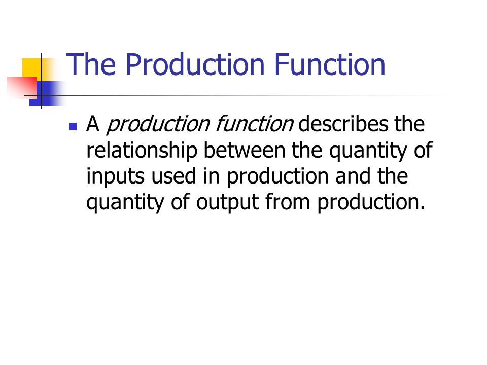 The Production Function A production function describes the relationship between the quantity of inputs used in production and the quantity of output