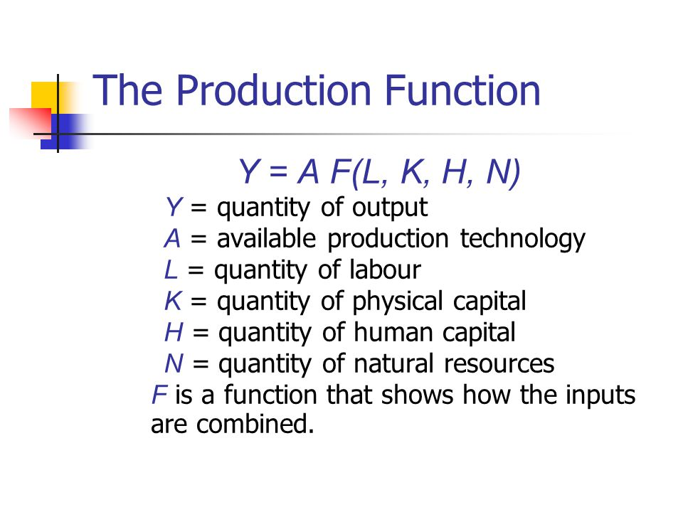 The Production Function Y = A F(L, K, H, N) Y = quantity of output A = available production technology L = quantity of labour K = quantity of physical
