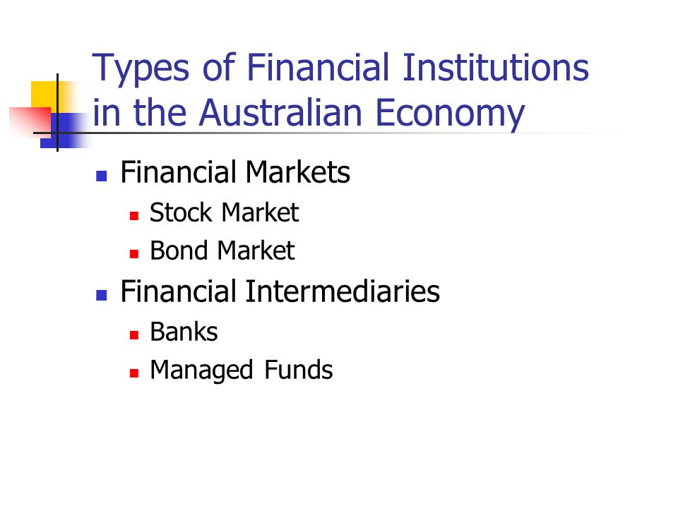 Types of Financial Institutions in the Australian Economy Financial Markets Stock Market Bond Market Financial Intermediaries Banks Managed Funds